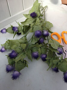 Artificial Thistle Heads Decorative 4 stems