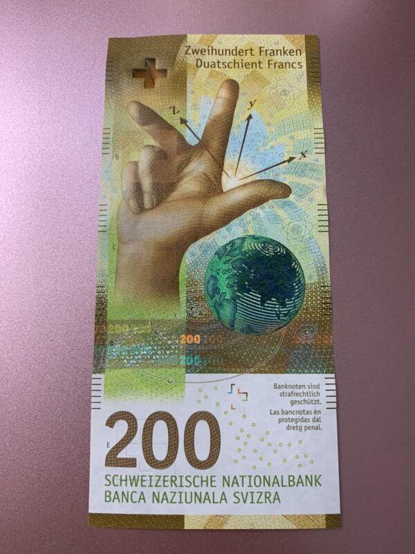 200 Swiss Francs. 200 Franken Switzerland Banknote. Switz Cir Banknotes. 200