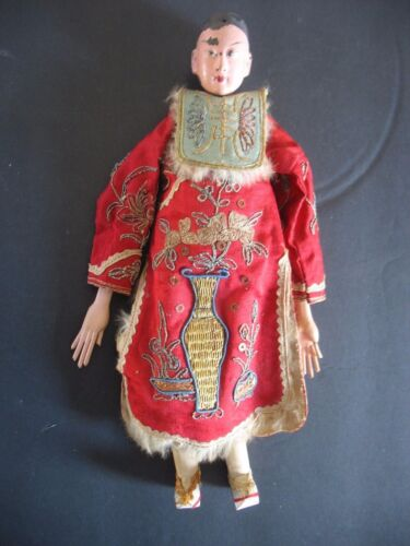 "Antique 10 1/2"" Chinese Antique Opera Doll Original Red Hand embroidered Outfit"