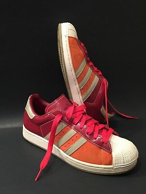 Mens Classic Adidas Vintage Superstar Low Grey Maroon Orange Suede Trim Sz 8