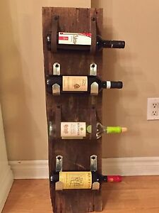 Hand made barn board wine rack