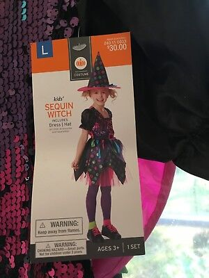 NWT Girls Halloween Costume Sequin With includes Hat and Dress Large  Size 10-12 - Girl Witch Costume