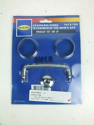 New Outland 7404 Stainless Steel Windshield Tie Down Kit, Jeep Wrangler 97-Up