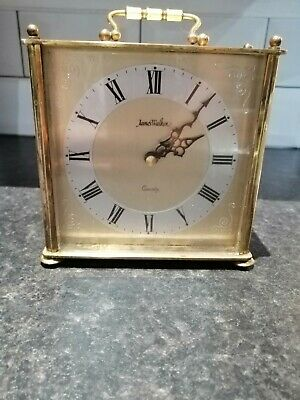 Vintage Rare James Walker Brass Carriage Mantle Tabletop Clock - fully working