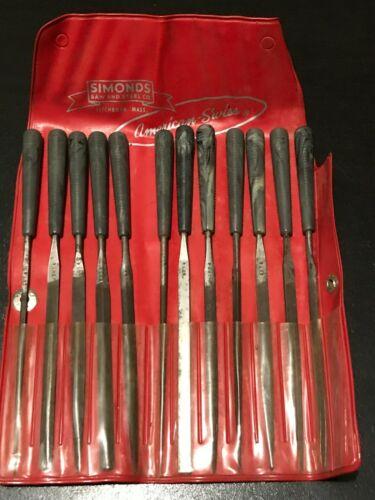 vtge. 12 pc. set assorted Simonds Swiss Pattern needle files, cut 4(fine). USA