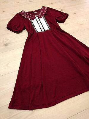 axes femme POETIQUE Dress JapanM Bordeaux Romantic Hime&Classical Lolita Fashion