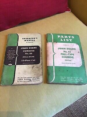 Vintage John Deere Tractor Partsops Manuals Combine No. 65 Pull-type 12 Foot