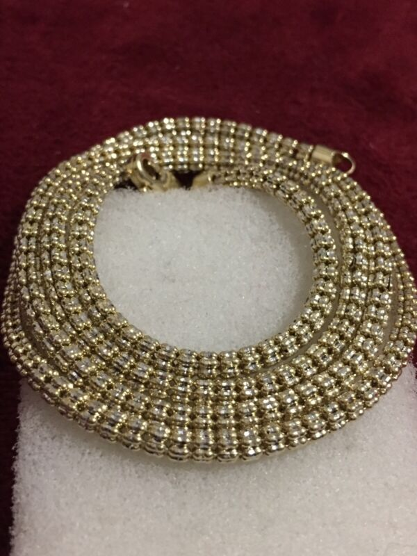 10kt Yellow Gold 26 Inches Shiny Ice Chain Lobster Lock 3mm Scrap Or Wear