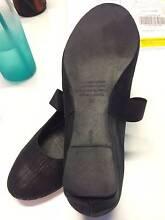Django & Juliette Black Leather Wedge Shoes Crows Nest North Sydney Area Preview