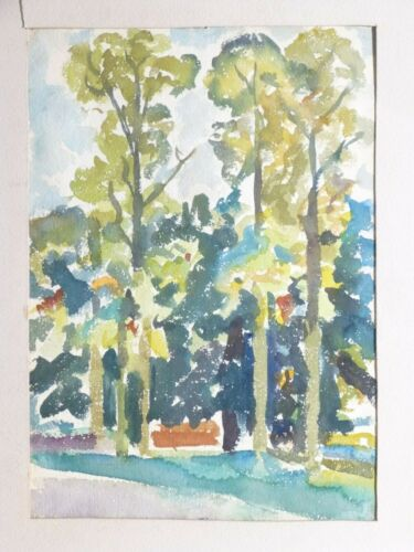 VINTAGE MODERNIST WATERCOLOR EXPRESSIONIST PAINTING Mid Century Modern 1930s