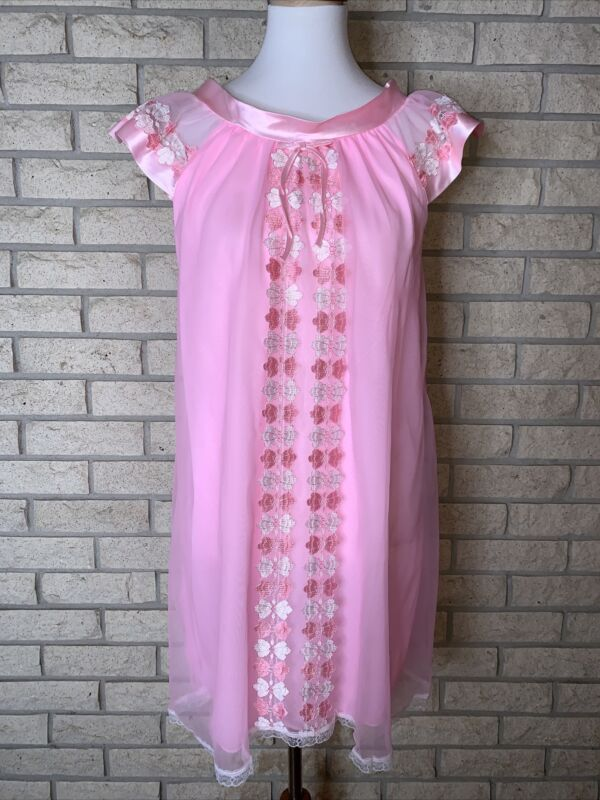 Vintage 1950s-60s Pink Nylon, Satin, & Lace Babydoll Nightie Size M Retro Pin Up