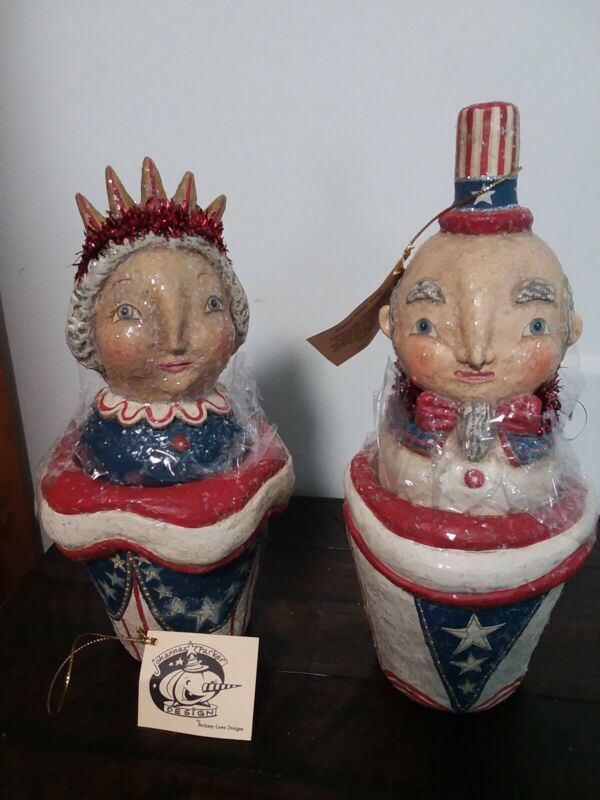 Bethany Lowe Johanna Parker Patriotic July 4th  Uncle Sam & Lady Liberty Retired