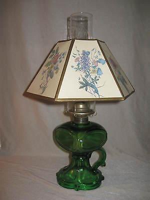 Vintage/Antique Emerald Green Finger Kerosene Oil Lamp w/Original  Shade...NICE!