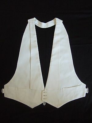 Vintage 30s backless formal white marcella cotton evening waistcoat tuxedo vest
