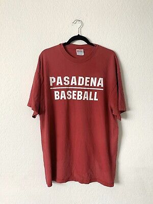 VINTAGE Pasadena Baseball Short Sleeve Crewneck T-shirt, RED- SIZE (Pasadena T)