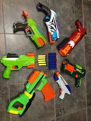 7 Nerf/Buzz Gun Blaster Lot Exact Attack, Tek 5, X Shot, Clip Blaster    0