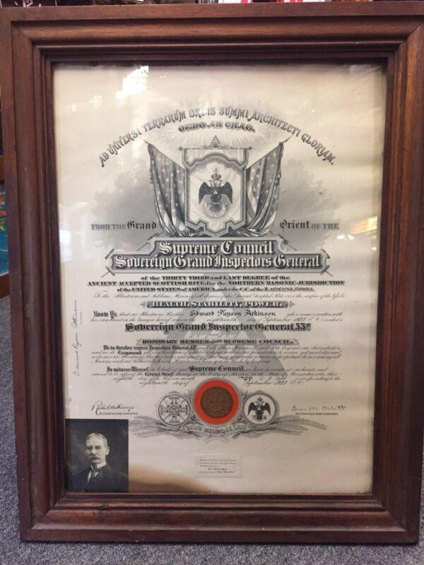 Antique MASONIC SUPREME COUNCIL SOVEREIGN GRAND INSPECTOR GEN 33* Plaque RARE