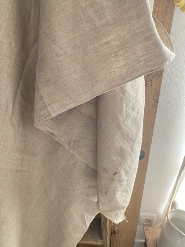 7,6 y antique French FLOPPY pure LINEN fabric natural tone c1900