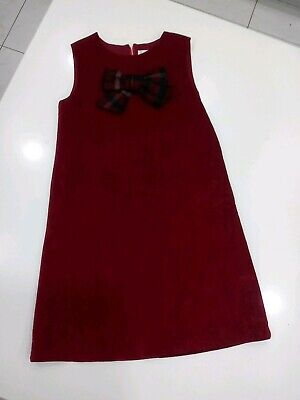 Patachou red maroon sleeveless Dress jumper Girl Size 8y 128 boutique plaid bow