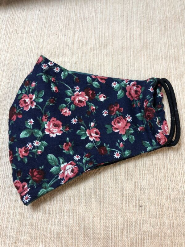 1990s Vintage Rose Fabric Face Mask Two Layers Plus Filter Pocket Free Shipping