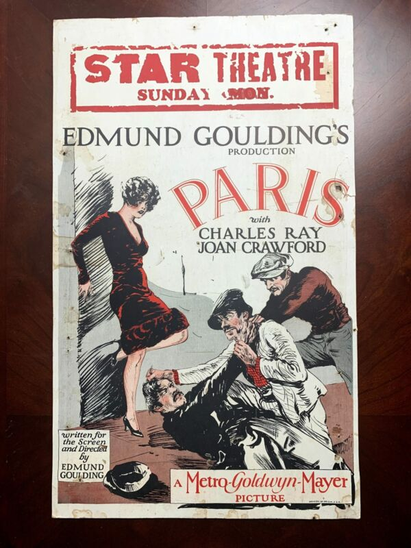 Paris - Very Early Joan Crawford (1926) US Window Card Movie Poster