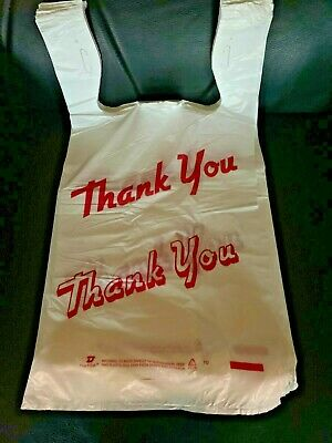 Bags 16 Large 21 X 6.5 X 11.5 Thank You T-shirt Plastic Grocery Shopping Bags