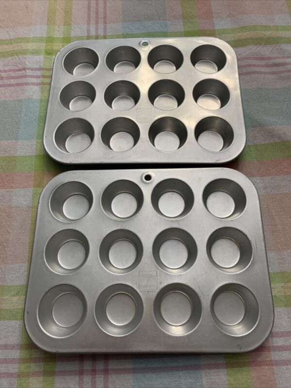 2 Vintage Aluminum Mini-Muffin Cupcake Pans  Mirro USA, 12 Ct Each tarts