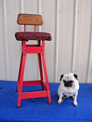 """Vintage Rustic Bright Red Metal Wood 35"""" Industrial Stool Seat Chair"""