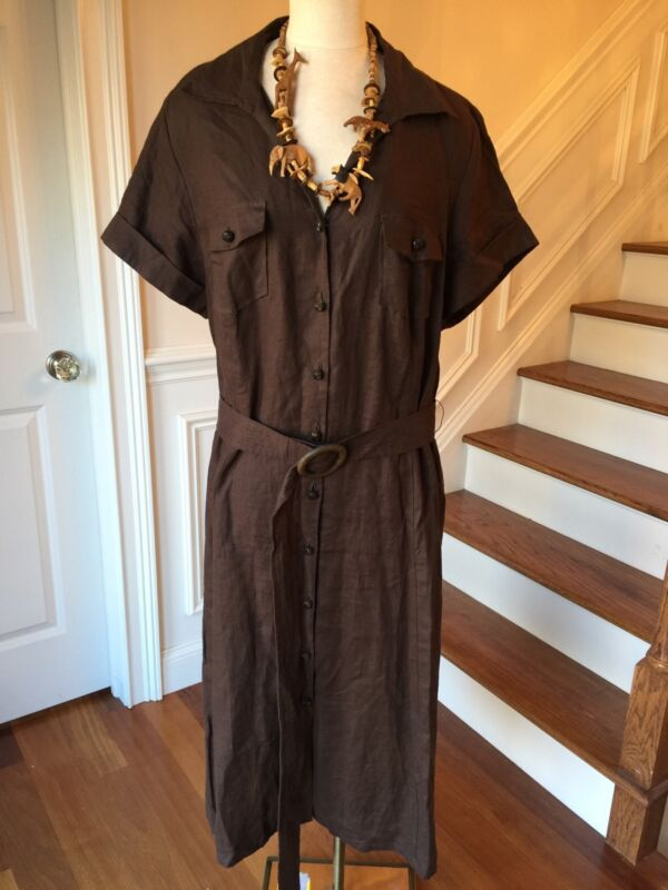Charter Club Safari Dress Size 22W 2X Belted Dark Brown Button Front 100% LINEN