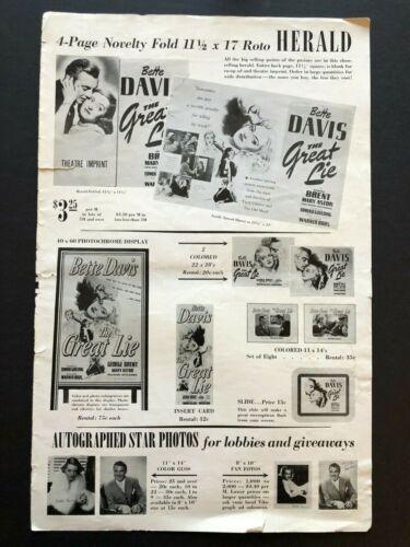 Bette Davis Original Movie Pressbook Pages (1950s) - 6 Pages