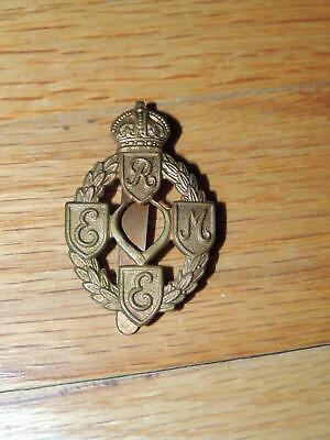 British WWI Era R E M E Officer Collar Cap  Badge