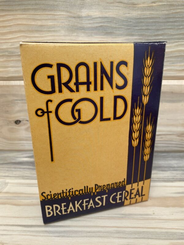 Vintage Grains of Gold Scientifically Prepared Breakfast Cereal Box NEW FULL