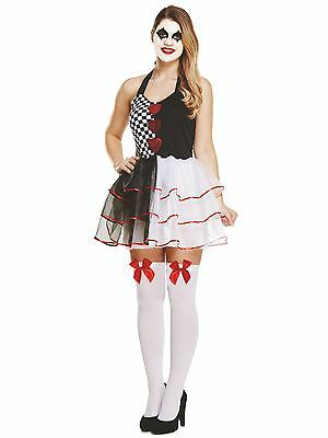 Women's Ladies Halloween Party Evil Jester Harlequin Fancy Dress Costume UK 8-12](Party Halloween Costumes Uk)