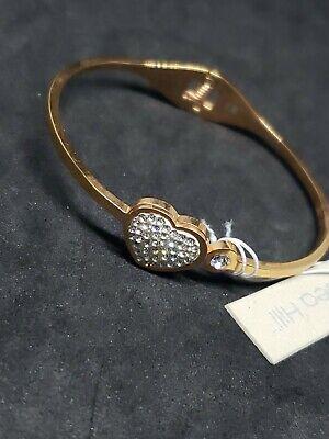 CHELSEA HILL Rose Gold Tone Bangle Bracelet White Crystals Heart -