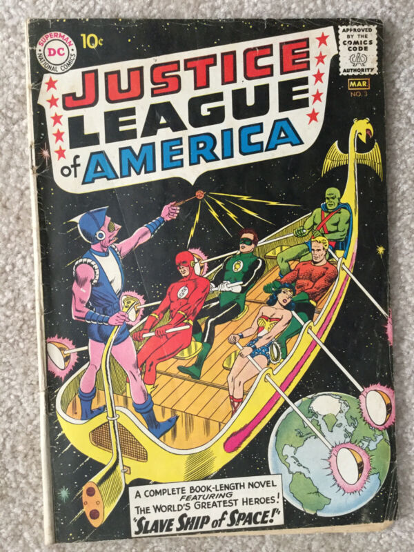 JUSTICE LEAGUE OF AMERICA #3, THE SLAVE SHIP OF SPACE, VG GRADE