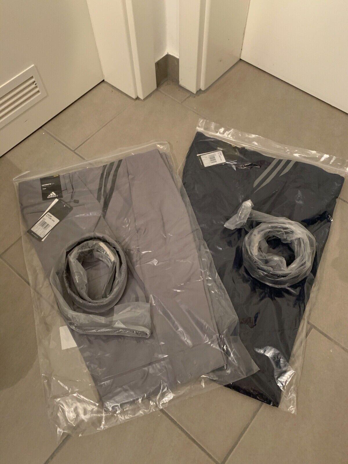 2x Adidas Ultimate 365 Herren Golfhosen 34/34 + Gürtel!! Blau und Grau-NAGELNEU