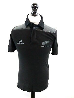 ADIDAS NEW ZEALAND Mens Rugby Polo Shirt Small Black Cotton Polyester All Blacks