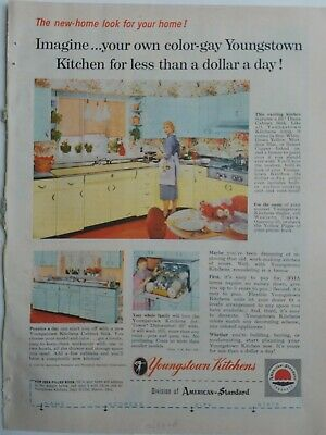 1956 vintage yellow blue Youngstown kitchen cabinets vintage original ad