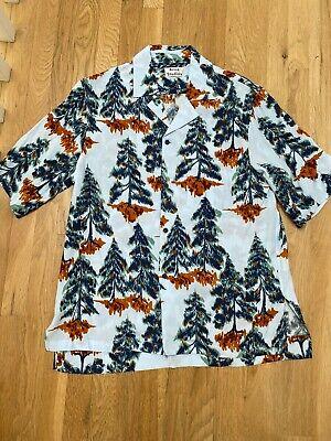 ACNE STUDIOS Pine print crepe short sleeve shirt Size EU 52