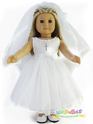 Handmade First communion/Wedding Dress for 18'' American Girl doll on Rummage
