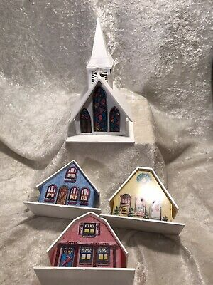Vintage Alpine Village Plastic Christmas House Light Covers