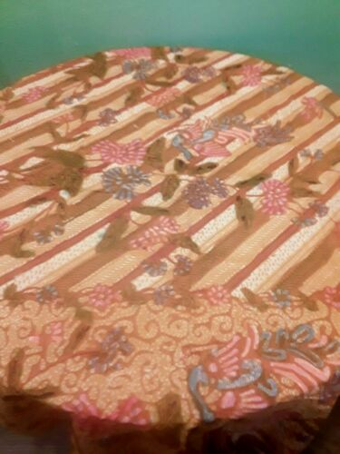 Vintage 1960s Javanese Indonesian Batik cotton fabric Gold Orange Floral 1.83yds
