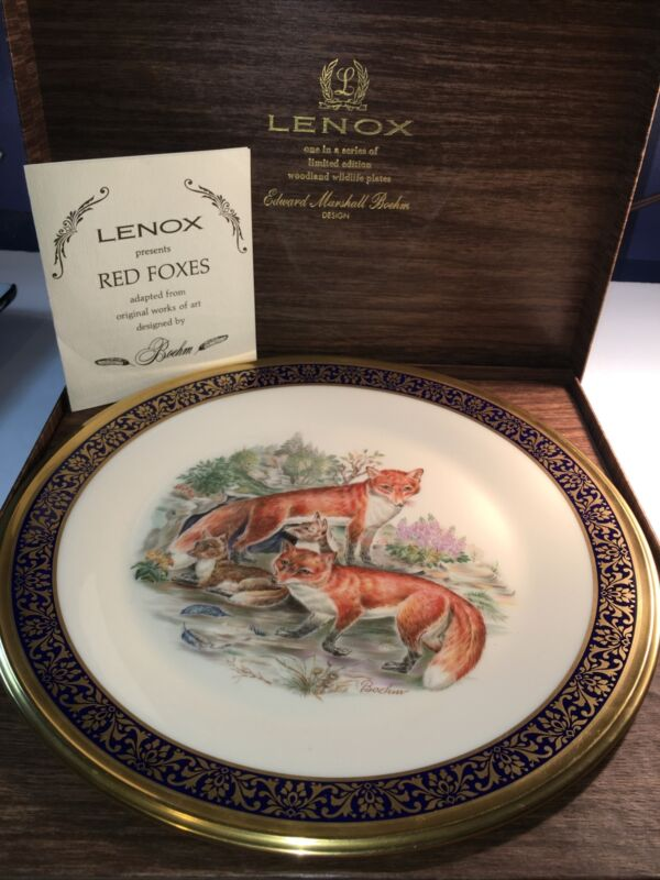VTG 74 LENOX BOEHM ANNUAL WOODLAND WILDLIFE Red Foxes COLLECTOR PLATE BOX Ltd Ed