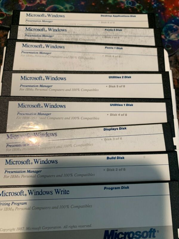 Original Vintage Microsoft Windows Presentation Manager Version 2.0 1987 5.25