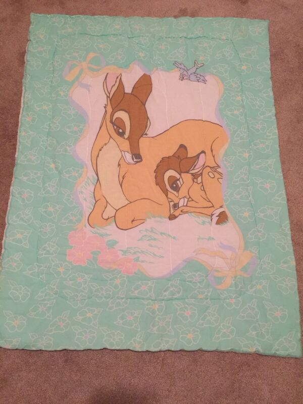 Vintage Disney Bambi And Mother, Baby Blanket VGC