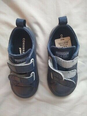 Converse ALL STAR Chuck Taylor Kids SZ 8 NEW Navy Blue Velcro toddler shoes LOOK