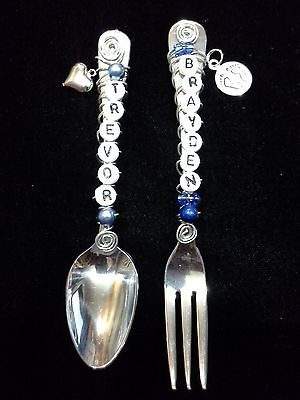 - Personalized/name infant or baby spoon and fork set *FREE NOTE INCLUDED*