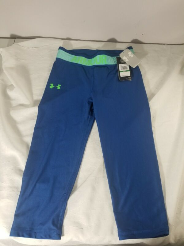 NWT Girls Under Armour Capri Tights  Leggings Black Size Youth Large