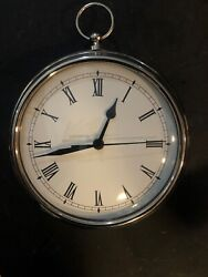 """Pottery Barn Large POCKET WATCH/WALL CLOCK Works Brushed Silver/Pewter Tone 9"""""""