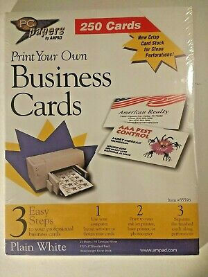 Pc Papers By Ampad Print Your Own Business Cards Of 100 Brand New